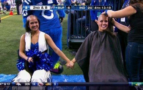 Both Megan and Crystal Anne cut their hair to support the Indiana Colts' head coach, Chuck Pagano and bring awarness to cancer research.