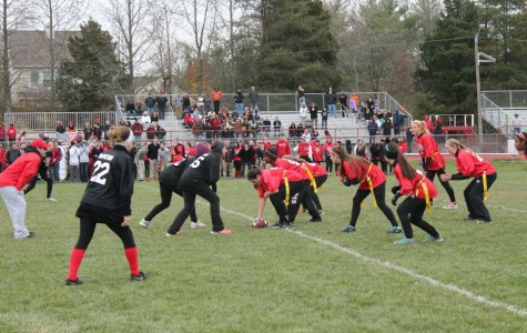 A scene from this year's Powderpuff Football game. The annual event often attracts more spectators than other girls sporting events at East.