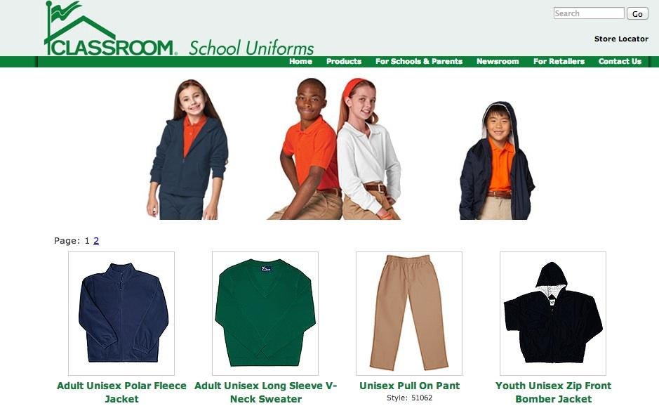 Classroom School Uniforms sells a variety of school uniforms.