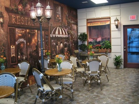 The interior of Cafe Flora is reminiscent of a street in France.