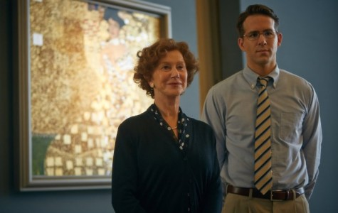 "From left to right, Helen Mirren as Maria Altmann, and Ryan Reynolds as Randy Schoenberg stand in front of the famous ""Woman in Gold"" painting that they fight to reclaim."