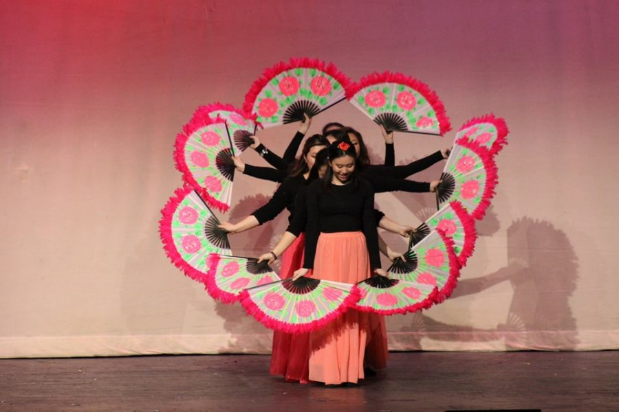 The Korean Culture Club performs in the Multicultural day auditorium.