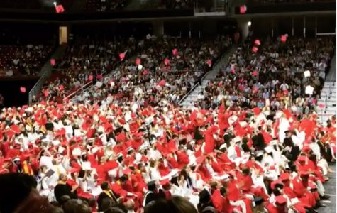 The Class of 2016 throw up their caps as the last procession in their Graduation Ceremony.