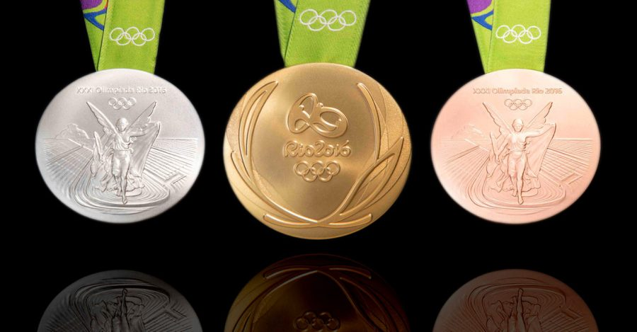 The medals for the Olympic champions of the Rio 2016 Olympics.