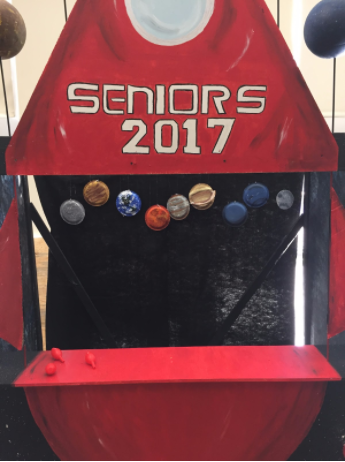 Pictured above is the Senior Class booth.