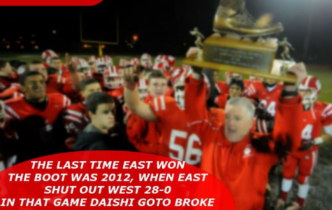 "Crowd gathers on Wednesday night at Cherry Hill West to witness the annual ""Boot"" game between East's and West's football teams"