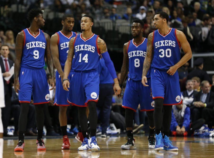 Nov 13, 2014; Dallas, TX, USA; Philadelphia 76ers forward JaKarr Sampson (9) guard Hollis Thompson (31) guard K.J. McDaniels (14) guard Tony Wroten (8) and center Drew Gordon (30) take the court after a timeout against the Dallas Mavericks at American Airlines Center. The Mavs beat the Sixer 123-70. Mandatory Credit: Matthew Emmons-USA TODAY Sports ORG XMIT: USATSI-186472 ORIG FILE ID:  20141113_mje_se2_063.jpg