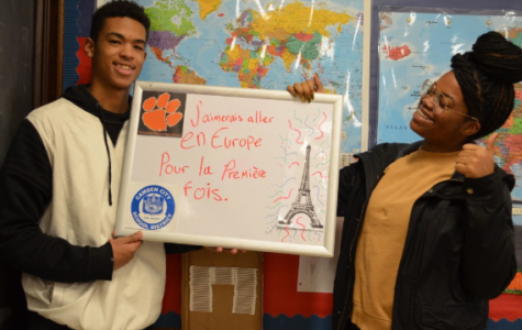 Mrs. Paula Saillard, from Woodrow Wilson High School in Camden raises money in an effort to take her French-speaking students on a trip to Paris