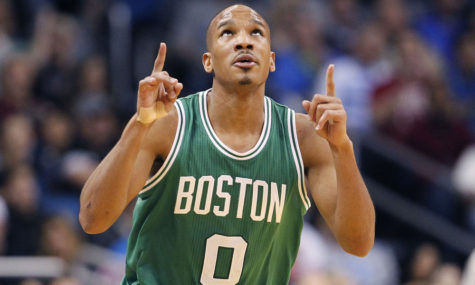 Avery Bradley celebrates as he plays on the court for the Celtics