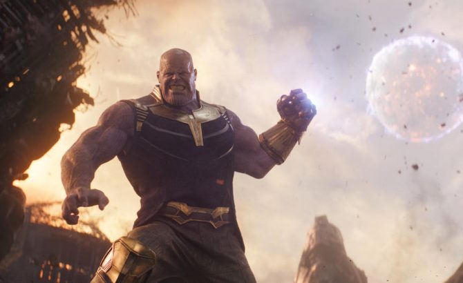 Thanos (Josh Brolin) utilizing the infinity stones to pull a planet