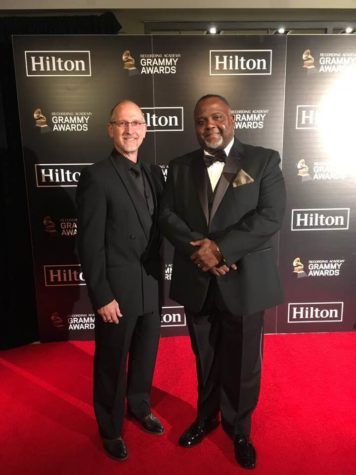 East's Small Engines teacher and Band instructor, Mr. Cecil Leonard, walks the red carpet at The 60th Annual Grammy Awards