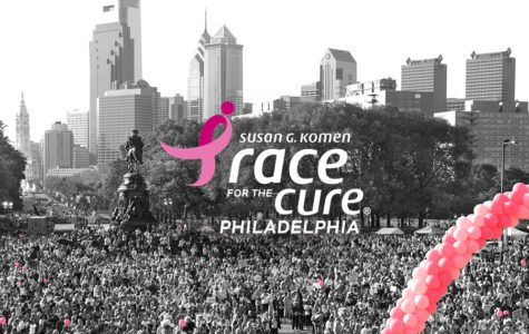 The Philadelphia 'Race for the Cure' attracts many who run to help to fund breast cancer research,