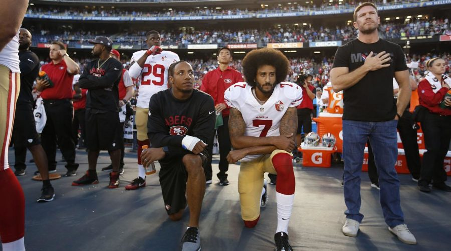 Kneeling+during+the+national+anthem+was+made+popular+after+the+acts+by+Colin+Kaepernick%2C+and+has+now+been+addressed+by+the+NFL.