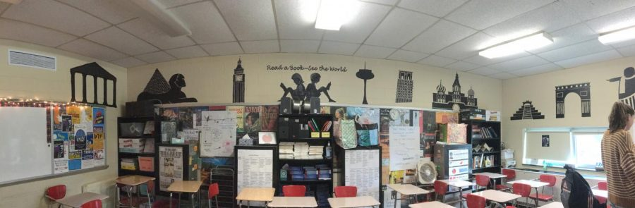 Artwork of famous attractions and authors adorn the walls of various English classrooms.