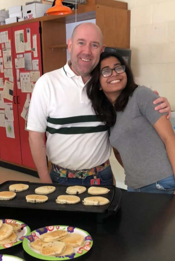 Mr.+Falat+and+Nashita+Ali+%28%2719%29+celebrate+end+of+AP+Chemistry+exam+with+a+pancake+breakfast.