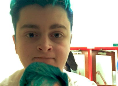 Henry tries bright blue hair out
