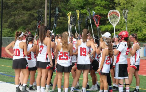 The girls lacrosse team huddles before the game.