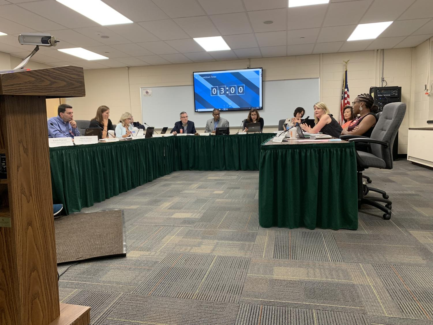 Board of Education members  discuss the possible implications of the Tunagate amendment and propose revisitions on on Tuesday, September 10.