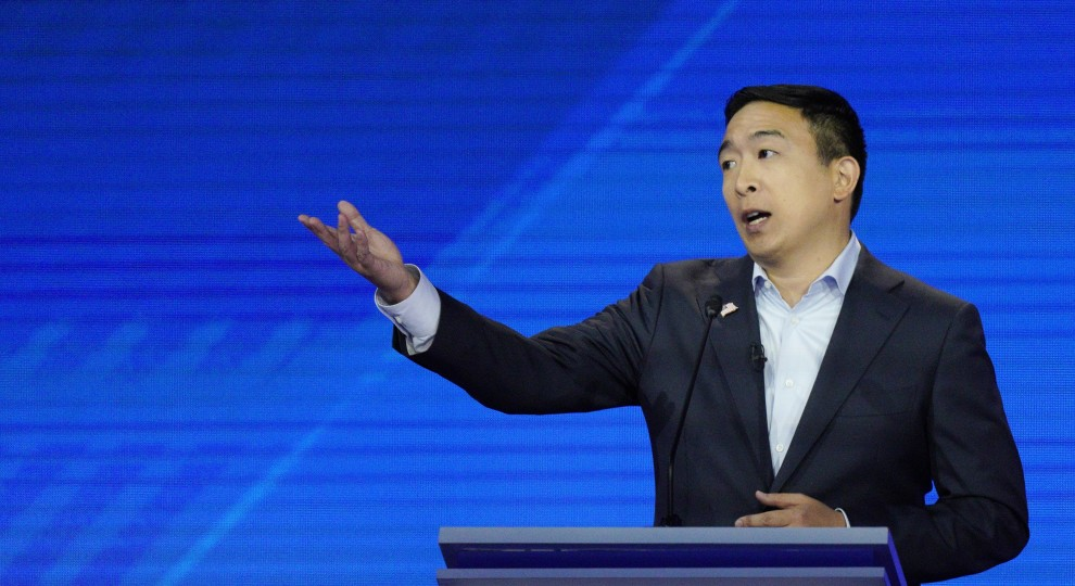 Presidential candidate Andrew Yang delivers a response during a Democratic primary presidential debate.
