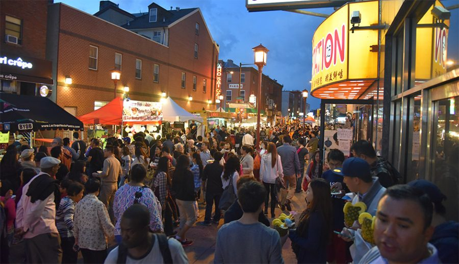 Crowds gathering in a previous year's night market