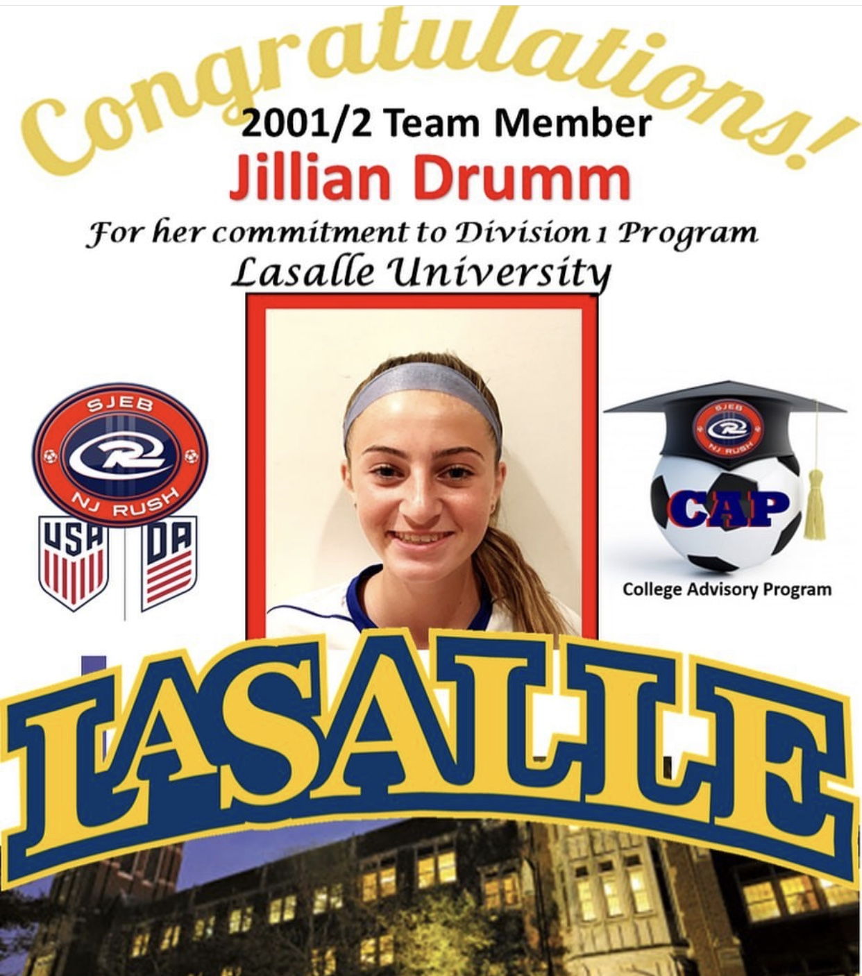 Jillian Drumm cannot wait to play soccer at La Salle University in two years.