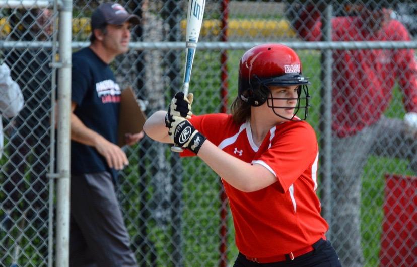 Christina Farley gets ready to swing as she sits at bat.