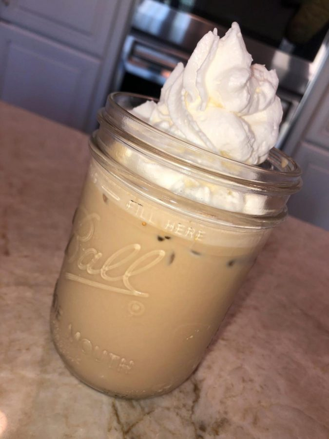 A view of the infamous TikTok coffee, prepared in all it's deliciousness.