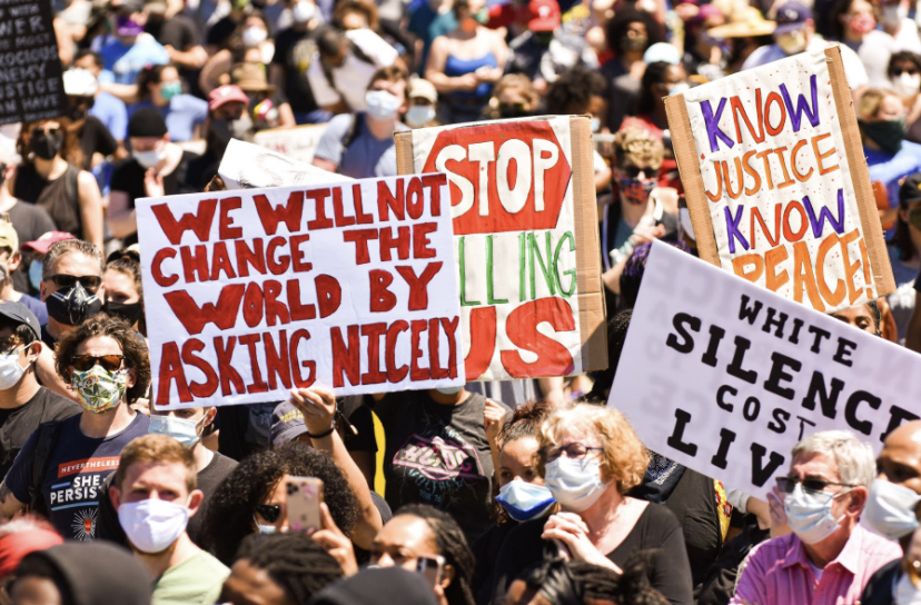 "People around the world participate in protests to show that ""black lives matter."""