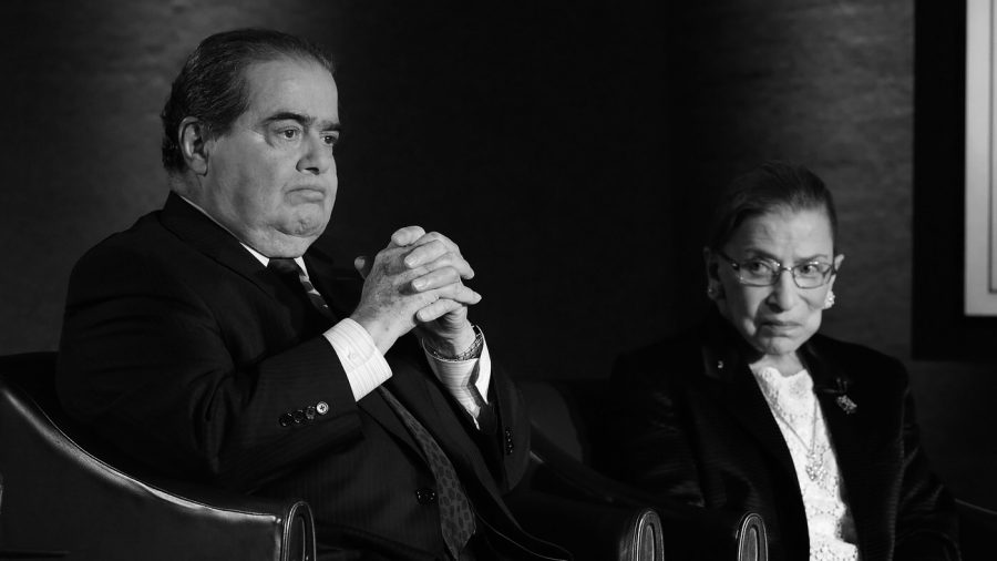 Supreme Court Justices Antonin Scalia and Ruth Bader Ginsburg photographed together in 2014.