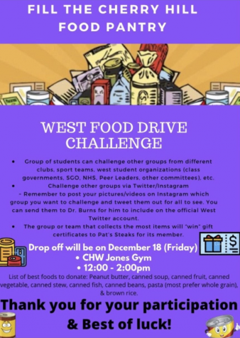 On December 18, hosts a food drive where all items go to the Cherry Hill Food Pantry.