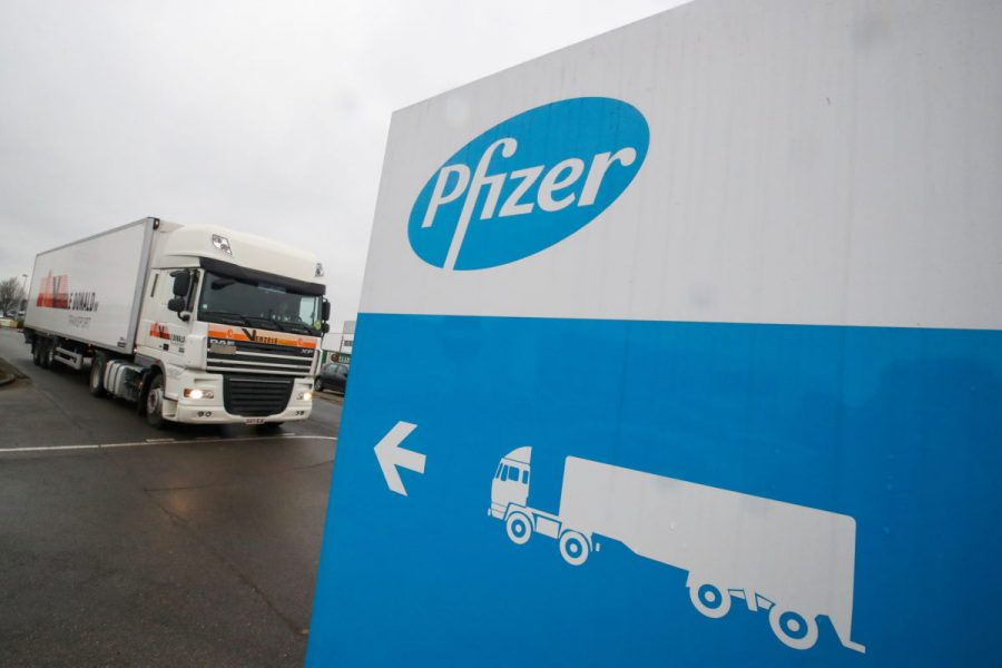 A refrigerated truck leaves the Pfizer plant in Puurs, Belgium.