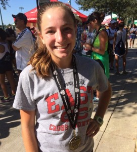 Berman with her medal after her race in the Disney Classic.