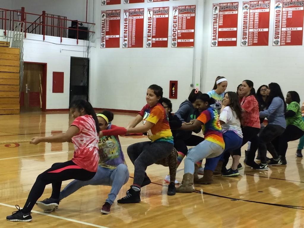 Senior girls giving it their all against the Sophomore girls.