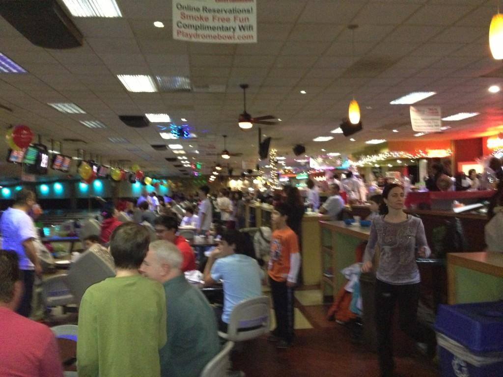 The bowling alley is packed!