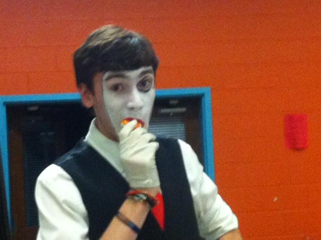 Keenan McElwee (15) having fun as a mime.