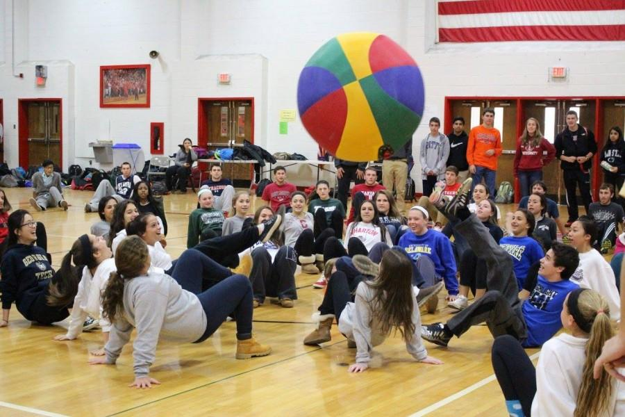 Students compete in crab soccer in hopes of winning spirit week points for their class.