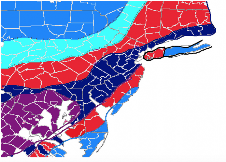 A+weather+map+of+New+Jersey+shows+a+lot+of+snow+coming.