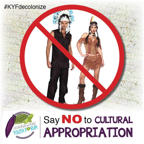 Cultural appropriation offends cultures; this example trivializes violent historical oppression as American dress up as Native Americans.