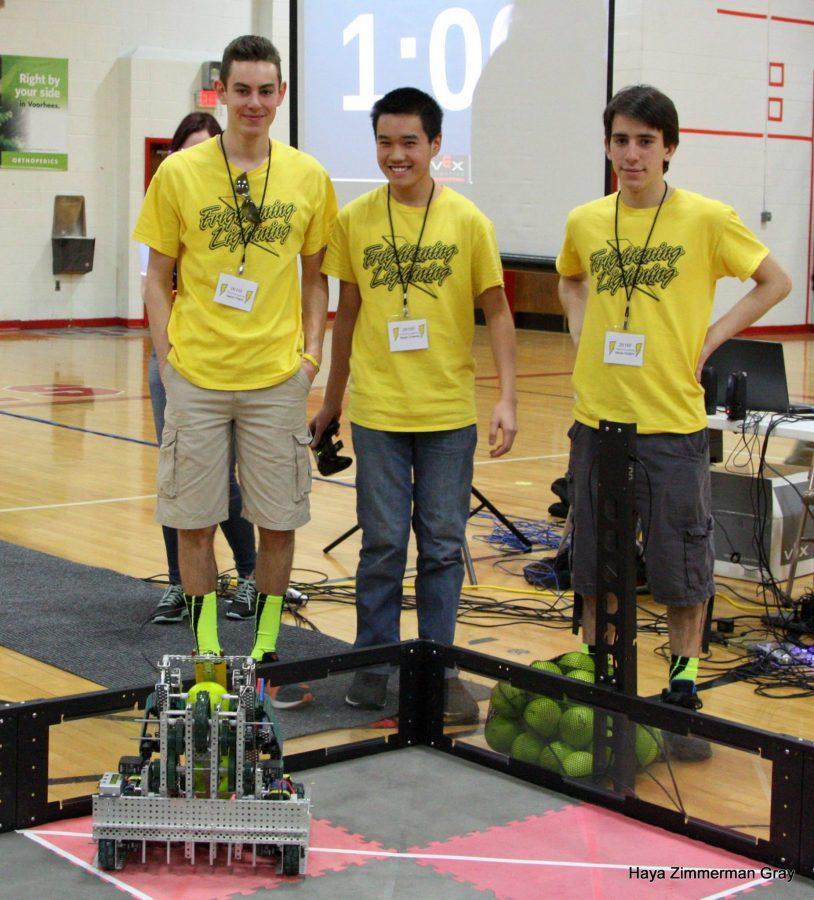 Jason Fisch (16) and Nikola Kursaic (16) demonstrate their award-winning Robotics creation.