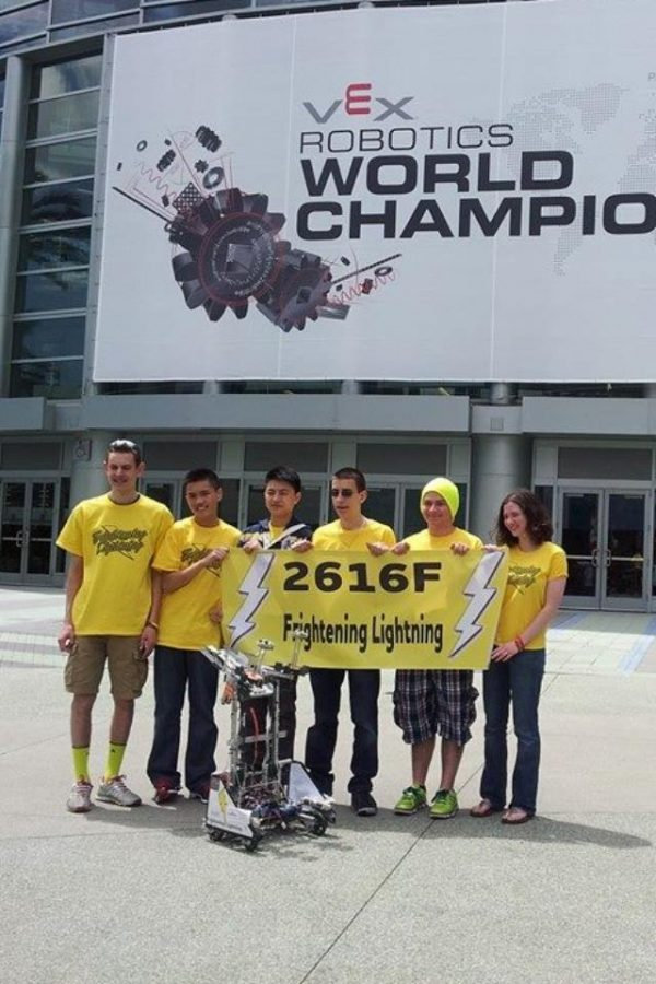 The Cherry Hill East Robotics team poses outside the World Championship