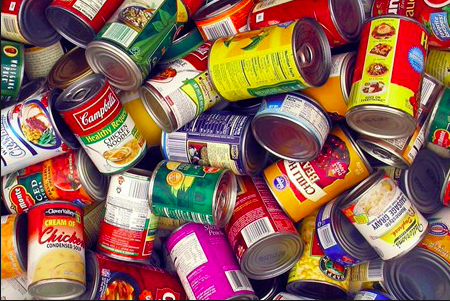 Students from all grades bring in canned food items that will be donated to a local food drive.