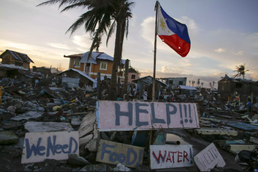 The above picture depicts only some of the terrible impacts the typhoon has had on the Philippines.