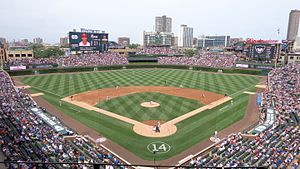 Wrigley Field is home to the Chicago Cubs.