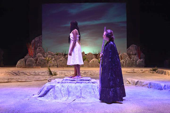 Pictured above is Louis acting in East's production of The Tempest.
