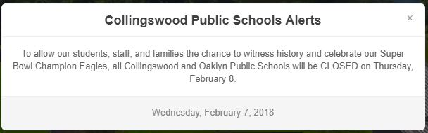Collingswood Public School's website displays this notice that ALL schools are closed for the parade celebration
