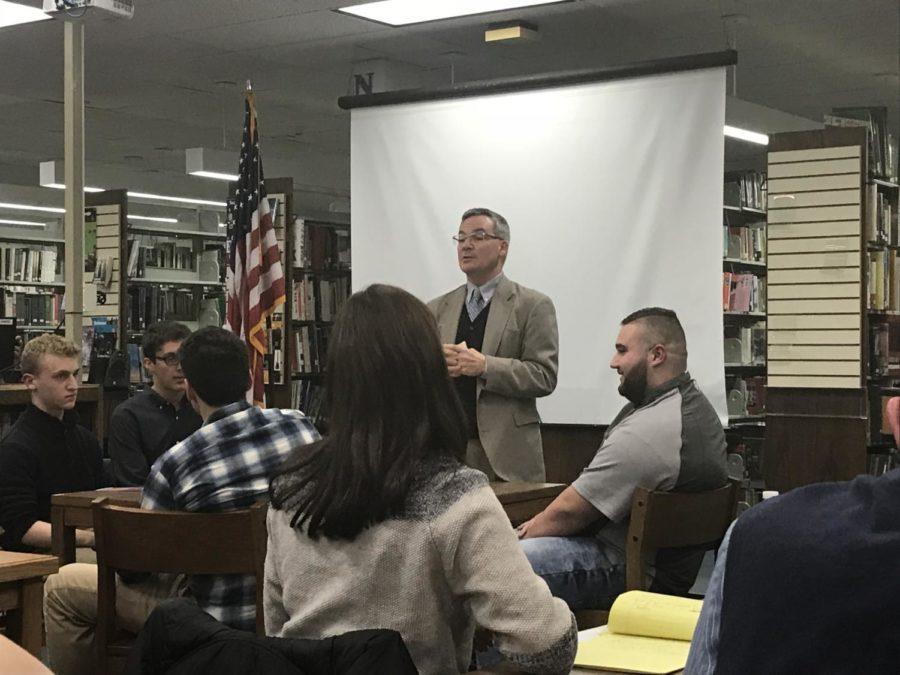 Dr. Joseph Meloche addresses parents and students.