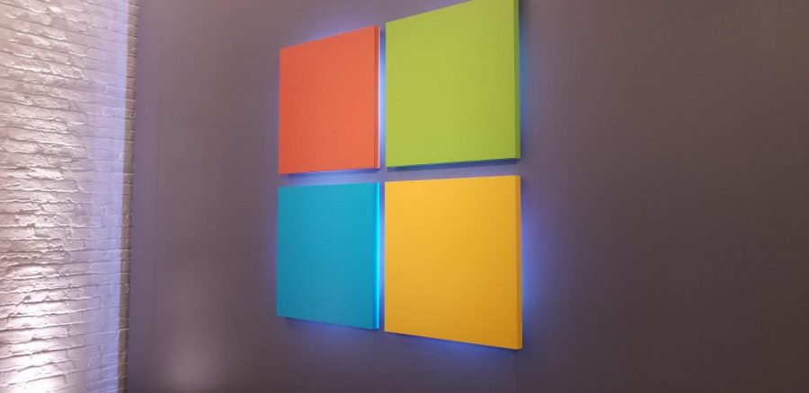 The Microsoft logo is proudly displayed at the entrance to the event.