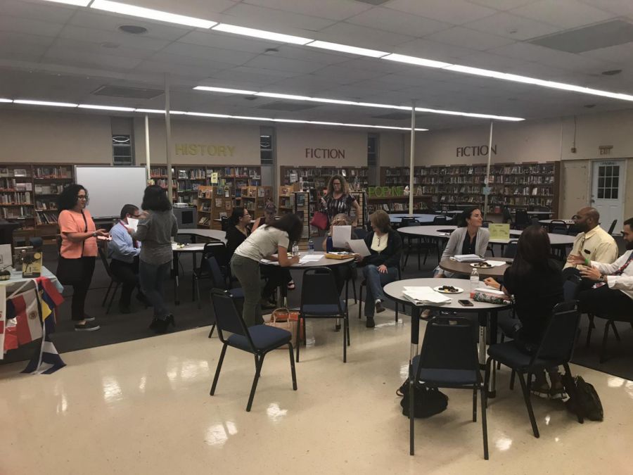 Parents gather at the first PTA meeting of the year.