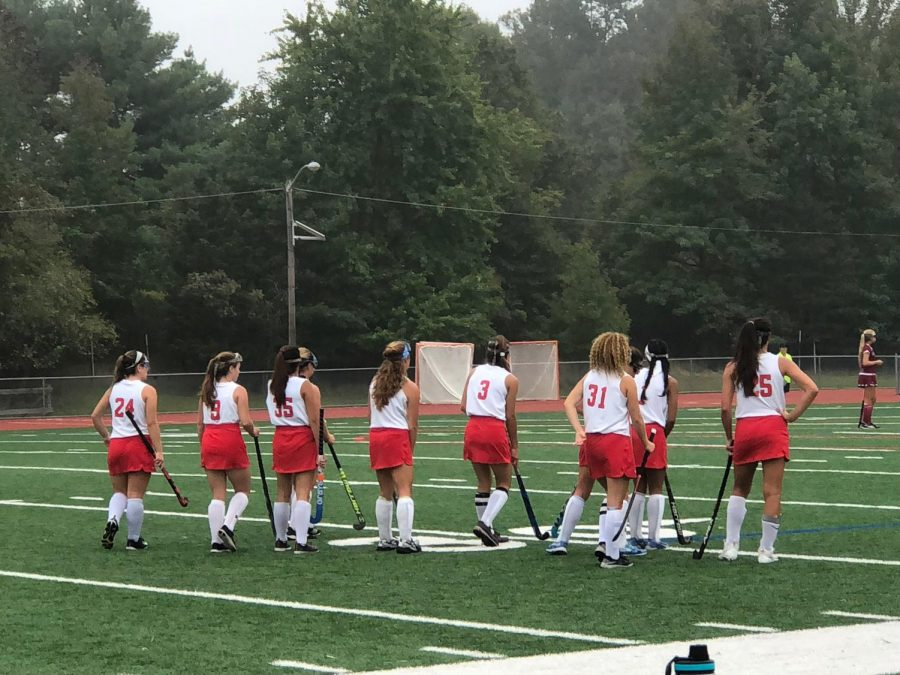 The East girls field hockey team prepares to square off against Eastern.