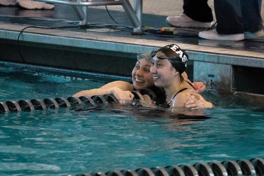 Grace+Yoon+%2820%29+and+Nora+Woods+%2818%29+of+Audubon+Collingswood+High+School+embrace+each+other+after+tying+in+the+100+Breaststroke+at+the+2018+Meet+of+Champions